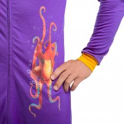 Overal na spaní či domácí nošení vyrobený ze 100% merino vlny s motivem chobotnice.